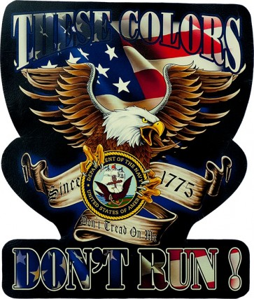 These Colors Don't Run US Navy Eagle Genuine Leather Sew On Patch