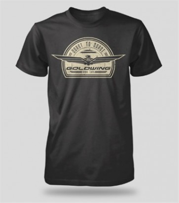 Honda Goldwing Logo Retro Black Tee