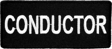 Conductor Black & White Name & Profession Patches
