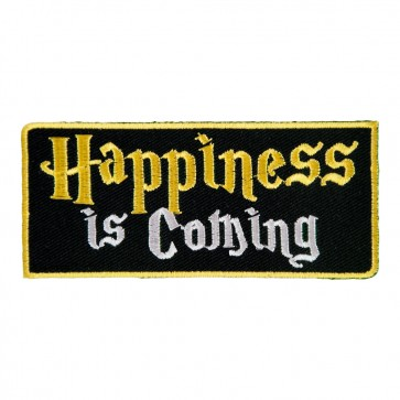 Happiness Is Coming Embroidered Black & Yellow Sew On Patch