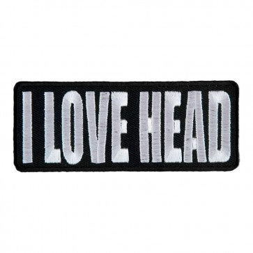 I Love Head Embroidered Black & White Sew On Patch