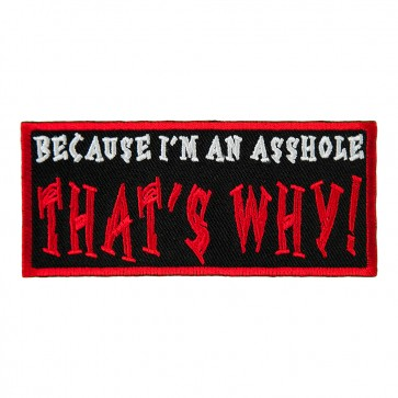 Because I'm an Asshole That's Why Embroidered Patch