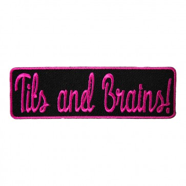 Tits And Brains Pink & Black Embroidered Patch