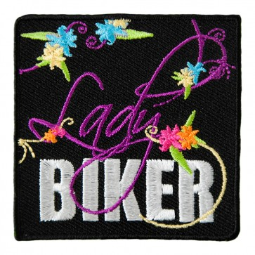 Lady Biker & Colorful Flowers Embroidered Patch
