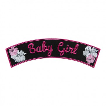 Baby Girl Pink & White Flower Embroidered Rocker Patch
