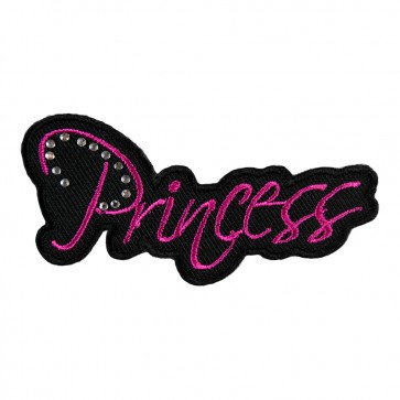 Embroidered Princess Pink Rhinestone Patch