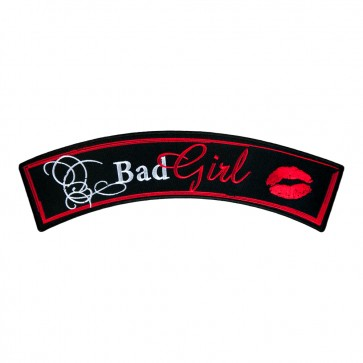 Bad Girl Red Lips Embroidered Rocker Patch