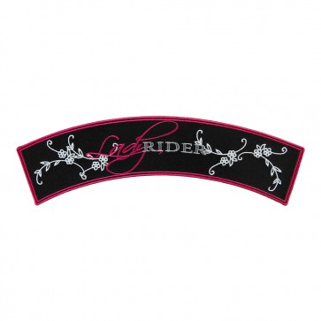 Lady Rider Script Embroidered Rocker Patch
