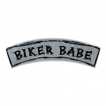 Reflective Biker Babe Embroidered Rocker Patch