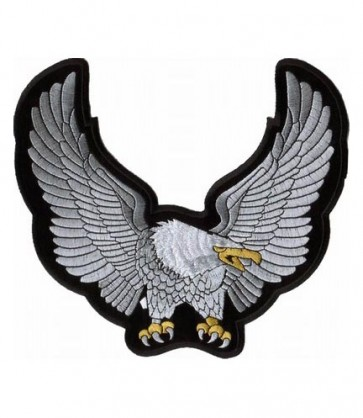 Silver Eagle Raised Wings Patch, Eagle Back Patches
