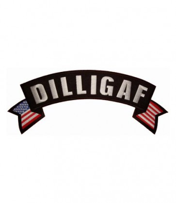DILLIGAF U.S. Flag Rocker Patch, Biker Rocker Patches