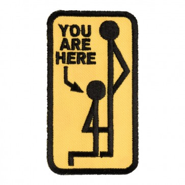 You Are Here Yellow & Black Embroidered Stick Figure Iron On Patch