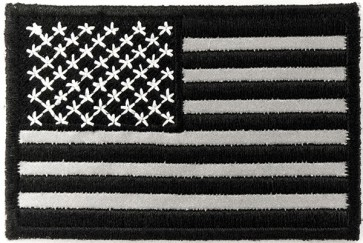 REFLECTIVE Black & Grey American Flag Patches