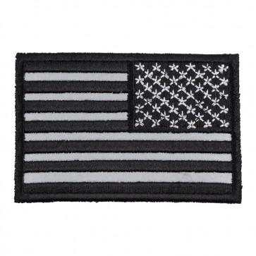 Reflective Black & Grey American Flag Reversed Embroidered Patch