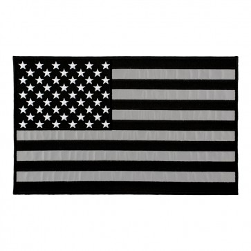 Embroidered REFLECTIVE Black & Grey American Flag Patch