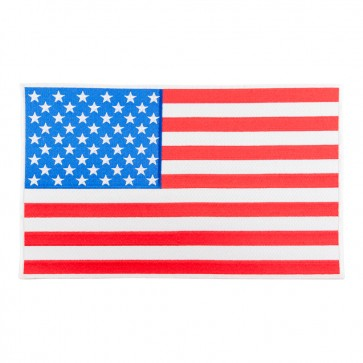 Embroidered U.S. Flag White Border Patch