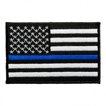 Embroidered Thin Blue Line American Flag Patch