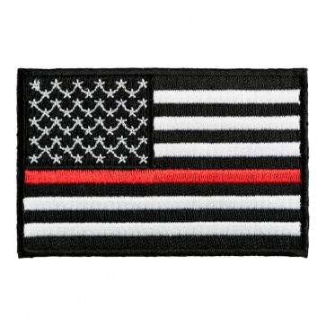Black And White Thin Red Line American Flag Patch