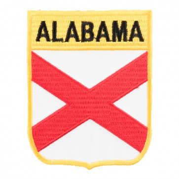 Alabama State Flag Embroidered Shield Patch