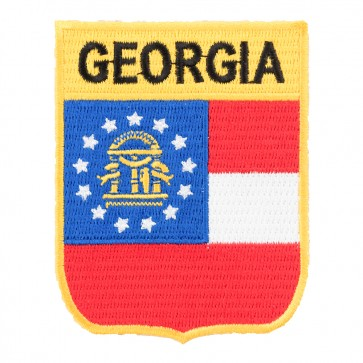 Georgia State Flag Embroidered Shield Patch