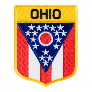 Ohio State Flag Shield Iron On Patch