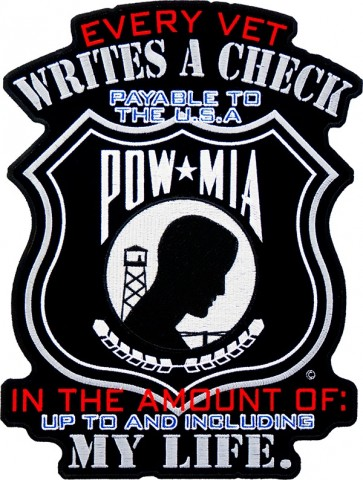 Every Vet Writes A Check POW Patch, Military Back Patches