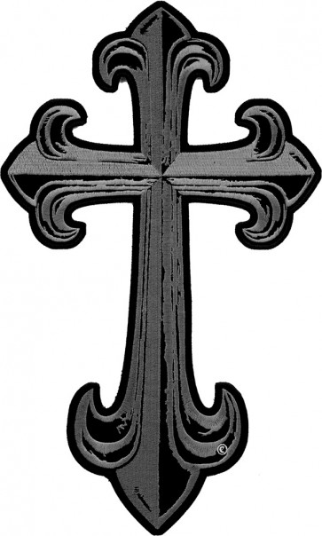 Steel Grey Cross Patch, Religious Cross Patches