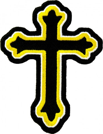 Yellow & Black Decorative Cross Patch