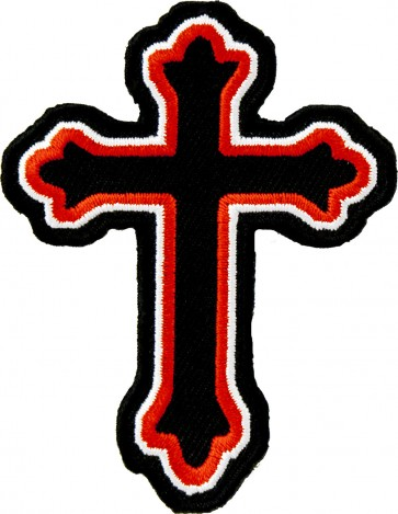 Red & Black Decorative Cross Patch