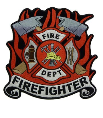 Firefighter Cross & Red Flames Patch, Firefighter Patches