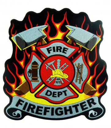 Firefighter Cross Red & Yellow Flames Patch, Firefighter Patches