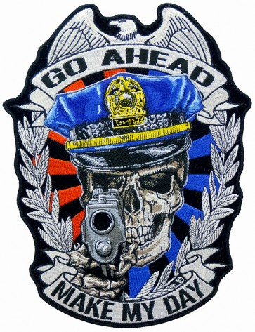 Make My Day Police Skull Patch, Law Enforcement Patches