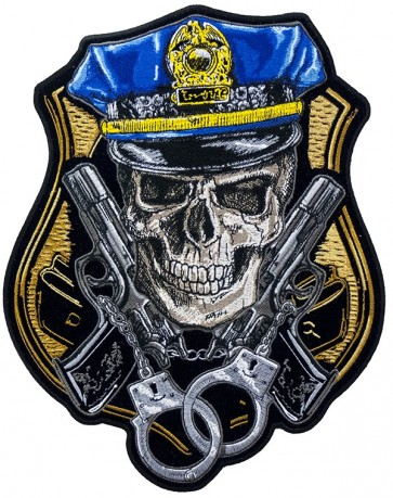 Police Badge Skull Guns & Handcuffs Patch, Police Back Patches