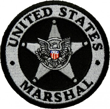 Silver US Marshal Badge Embroidered Patch