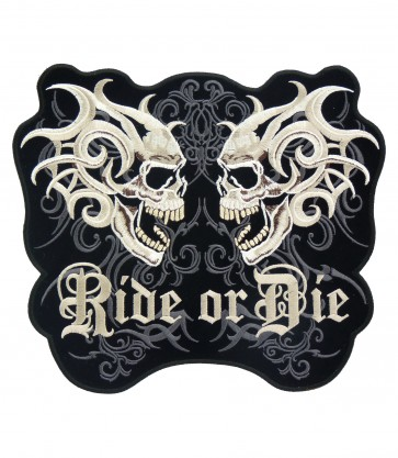 Marble Twin Skulls Ride Or Die Patches, Skull Back Patches