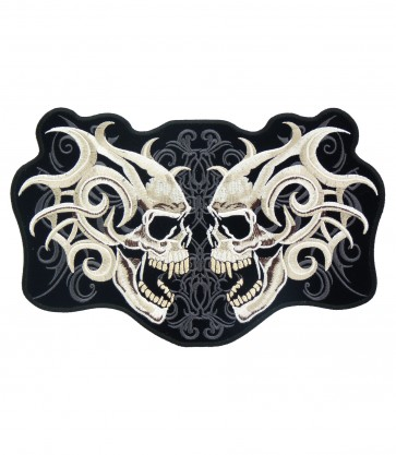 Marble Twin Skull Patches, Skull Back Patches