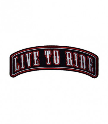 Live To Ride Red & Black Rocker Patch, Biker Patches
