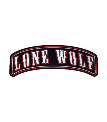 Lone Wolf Red & Black Rocker Patch, Biker Patches