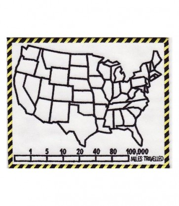 50 States Map & Mile Tracker White Patch, Biker Patches