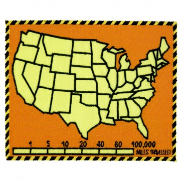 50 States Map & Mile Tracker Orange Embroidered Patch