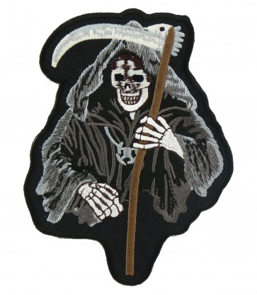 Grey Grim Reaper Skull Patch, Grim Reaper Patches
