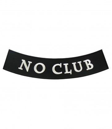 No Club Black & White Rocker Patch, Biker Patches