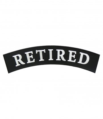Retired Black & White Top Rocker Patch, Rocker Patches