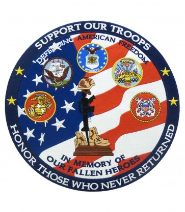 Support Our Troops Round Memorial Patch, Patriotic Patches