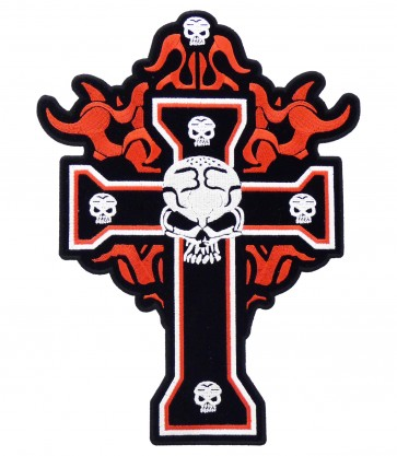 Flaming Black Cross & Skulls Patch, Skull Patches