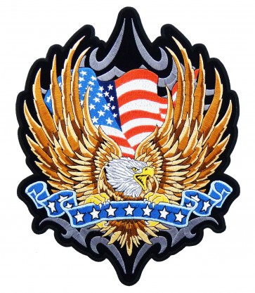 Patriotic Eagle & Blue Star Banner Patch, Eagle Patches