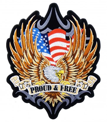 Proud & Free Patriotic American Eagle Patch, Eagle Patches