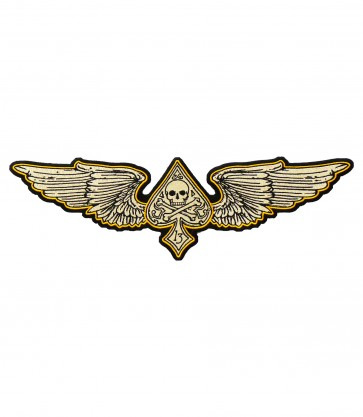 Tan & Orange Wing Spade Skull Patch, Skull Patches