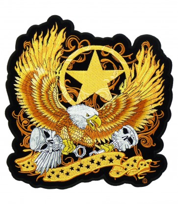 Eagle With Flaming Wings & Star Patch, Biker Patches