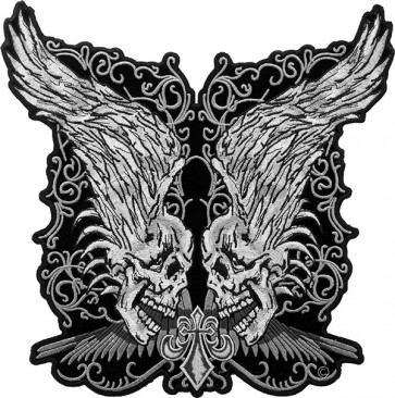 Twin Grey Skulls With Raised Wings Patch, Back Patches